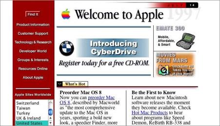 Il sito Apple.com nell'era delle tabelle